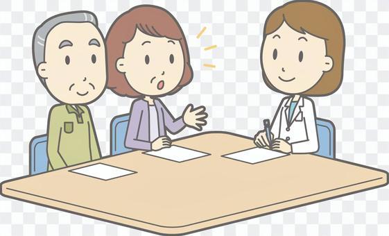 諮詢醫生老人和女性醫生整個身體