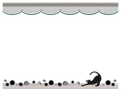 Print-style retro black cat frame decorative ruled line