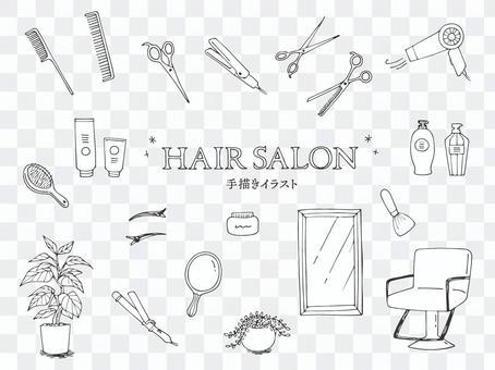 美容美髮配件的插圖