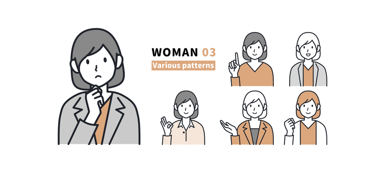 Women with various facial expressions and poses 03
