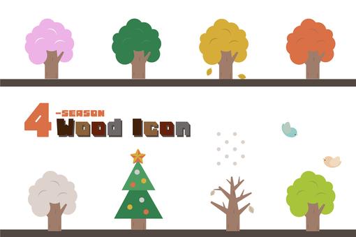 사계절의 나무 아이콘 세트
