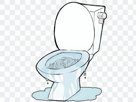 廁所裡有堵塞的紙和溢出的水