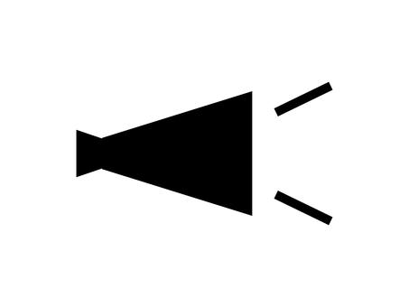 平面擴音器圖標: 單色