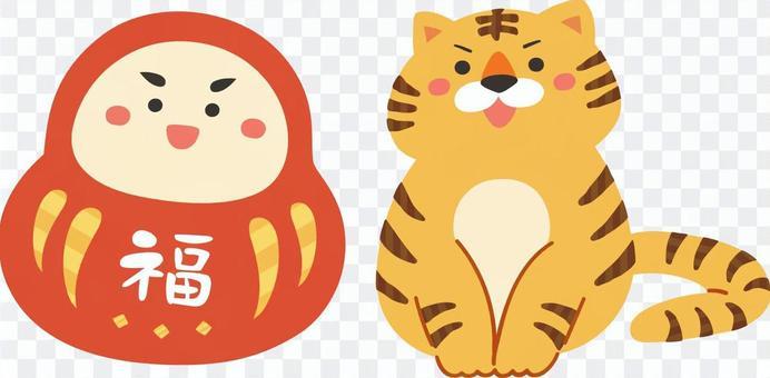 2022年。新年賀卡材料佛法和老虎