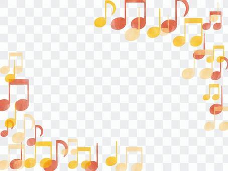 Diagonal watercolor frame of orange mp