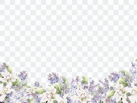Flower frame 138 - Lilac and white lily flower frame