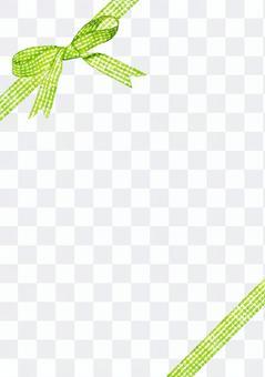 黃綠色檢查絲帶水彩 - 對角垂直