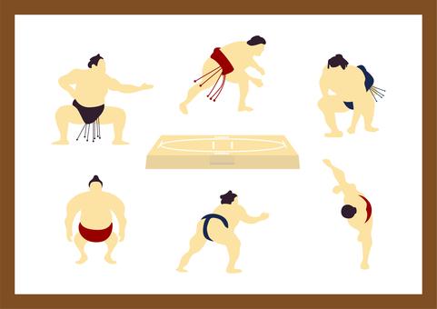 一套 7 個簡單的相撲插圖