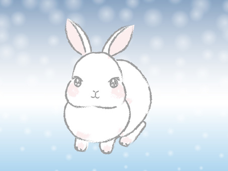 A little Japanese-style and simple white rabbit on a snowy background