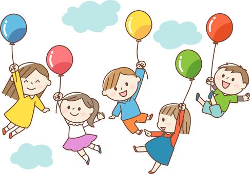 帶著氣球飛翔的孩子