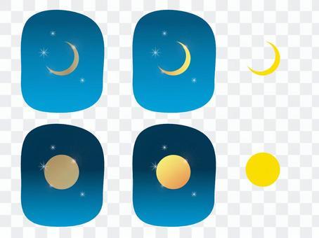 滿月和新月(3種顏色/幀)