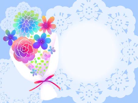 彩色水彩花束禮品卡藍色背景