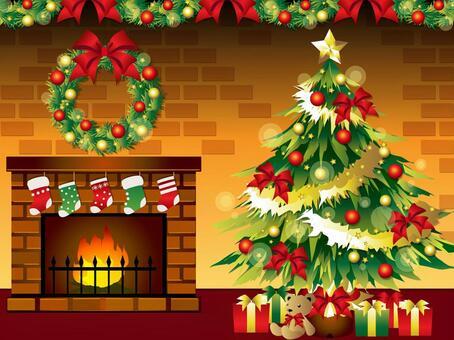 壁爐和聖誕樹