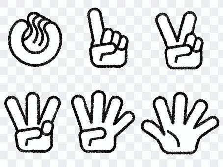 数を数える手 0から5 手描き風