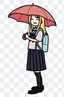 Schoolgirl holding an umbrella_07