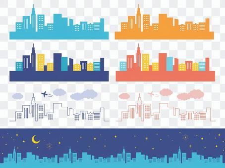 高層ビルの街並み線画シルエット素材セット