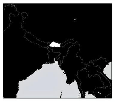 不丹地圖單色