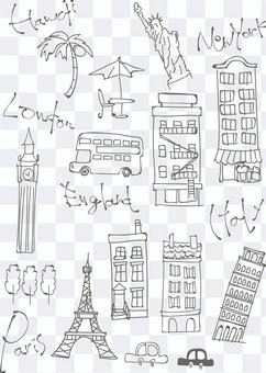 海外散明信片的插圖