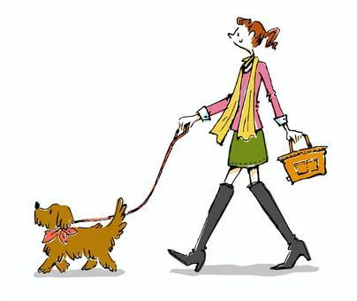 和一條狗散步