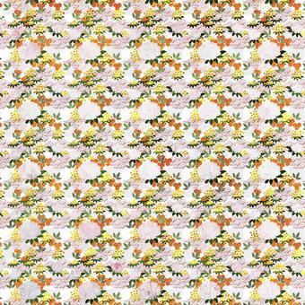 [紡織品]小花和山茶花