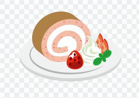Roll cake strawberry cut