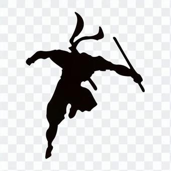 忍者跳躍剪影與劍