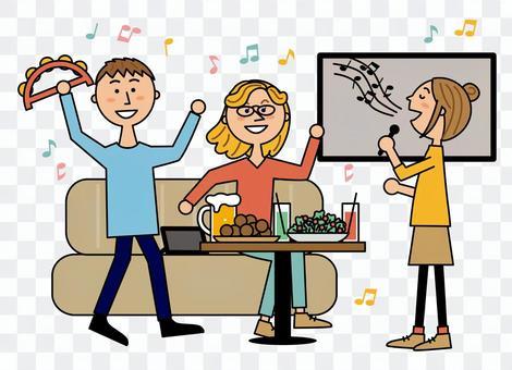 Women and friends singing in the karaoke room