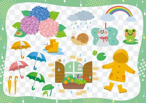 雨季的插圖集
