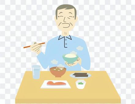 朝ご飯 おじいさん