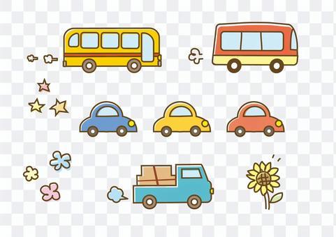 手写的公共汽车汽车卡车