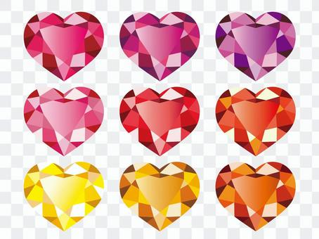溫暖的顏色心臟珠寶