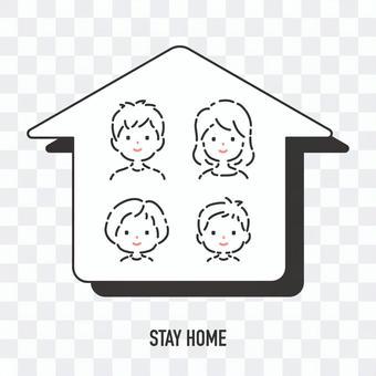 父母和孩子的圖標留在家裡