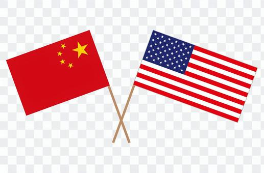 クロスしたアメリカと中国の国旗 イラスト