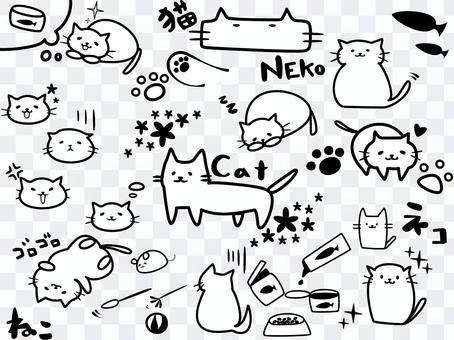 ゆる〜く ネコ セット 白黒