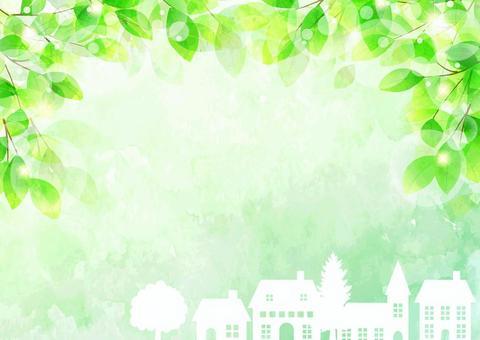 新鮮的綠色和城市景觀水平