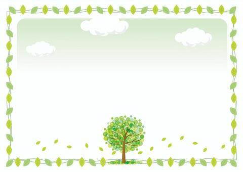 綠色木框架