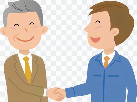 70118.作業服,男性握手3