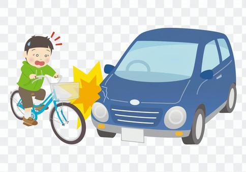 自動車にぶつかる少年