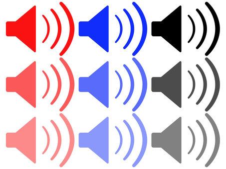 Speaker red blue black set