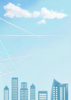 Frame of office building · blue sky