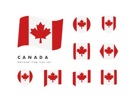 Canadian flag icon set