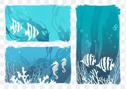 海の生き物 背景イラストセット