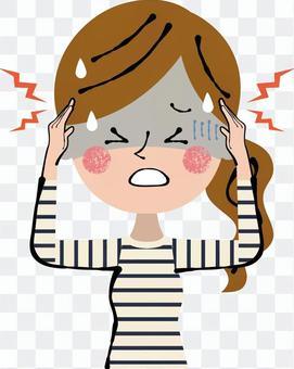 頭痛疼痛頭飾私人衣服女性上半身