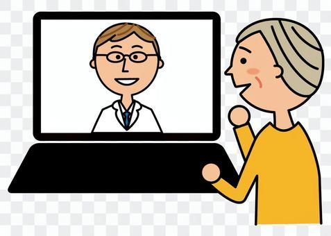 オンライン診療を受ける高齢者