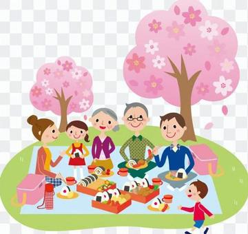 Cherry blossom viewing with a family of 3 generations