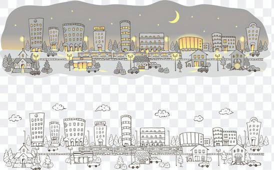 城市景觀_夜和線描