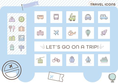 旅行和車輛圖標集