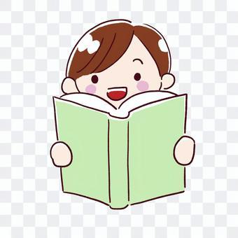 男孩打開一本書