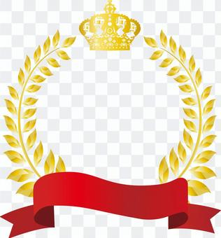 Free illustration Free material Gold crown red ribbon frame