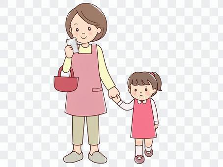 Walking smartphone housewife girl